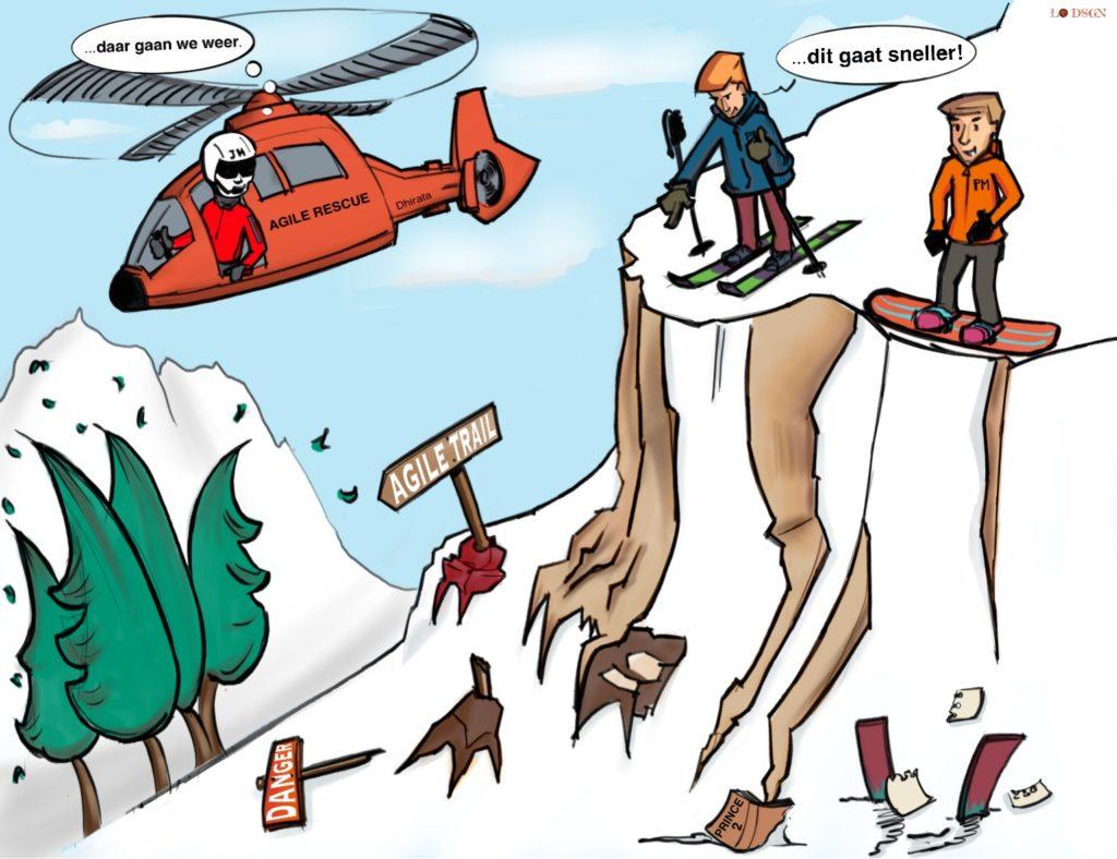 Twee wintersporters overwegen een snelle afdaling te maken. In de afgrond ligt all een verongelukte skier naast een prince2 boek