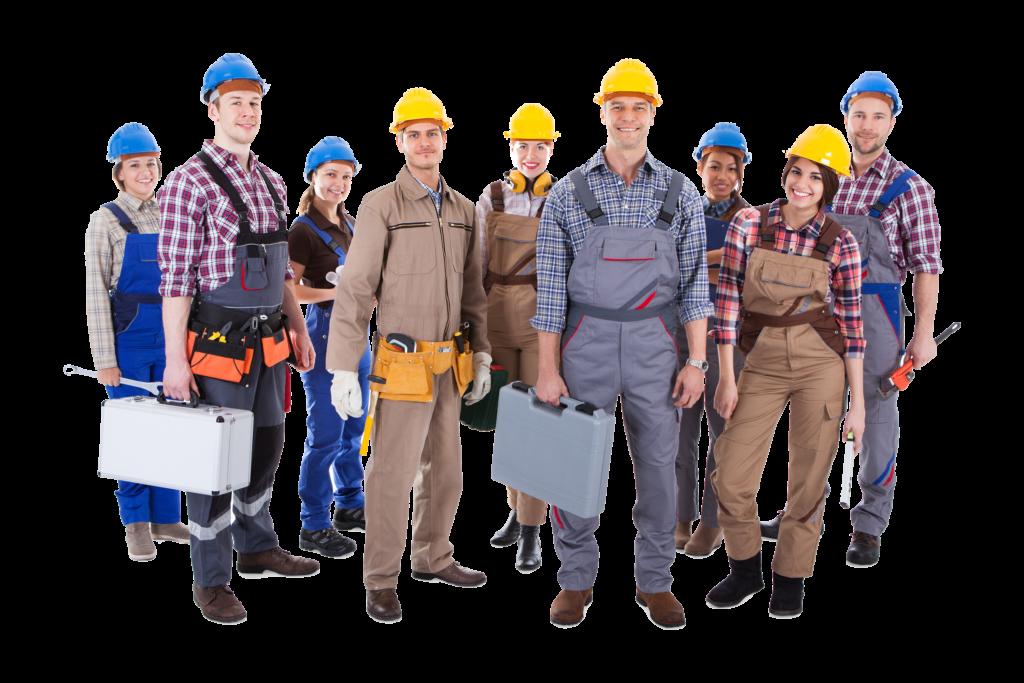 Groep met werkmannen en vrouwen